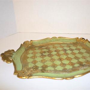 Other - Gold & Green Medallion Flower Design Italian Tray